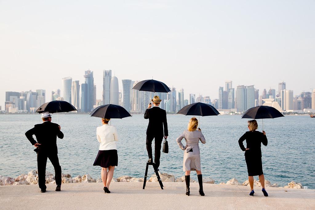 Katar West Bay deštníky